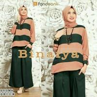 Gamis / Baju Wanita Muslim Binaiya set 3in1  Bahan: Full Jersey Super