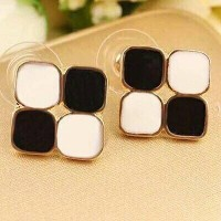 anting black and whitr keren style Korea murah cantik hadiah