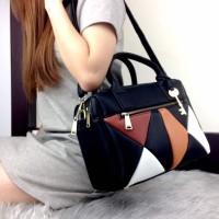 FOSSIL Erin Patchwork Double Zipper Satchel Bag