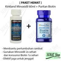 PAKET HEMAT 1 Botol Kirkland Minoxidil + Puritan Biotin 10000mcg