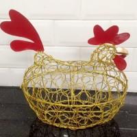 Keranjang Telur Ayam Warna Emas Ukuran D / XXL muat 22-25 telur Ayam
