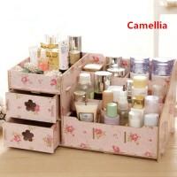 Rak kosmetik BESAR bahan kayu Desktop storage rack cosmetic box