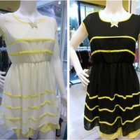 Mini Dress Remaja Anak Gaun Pesta Casual White Yellow Putih Kuning