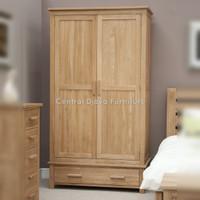 Lemari Pakaian 2 Pintu & Laci Almari Kayu Jati Furniture Jepara