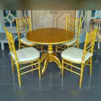 Kursi & Meja Makan Tiffany Gold Bulat Kayu Jati Cafe Furniture Jepara