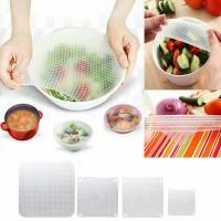 4pcs Pelindung Tutup Wrap Makanan Silikon Silicone