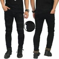 Jual Celana pria jeans korea denim distro black hitam import sobek ripped Murah