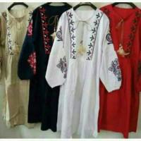 harga Jul100 Midi Dress Katun Bordir Import Lengan Panjang Ala Zara Bagus Tokopedia.com