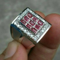 Cincin merah ruby dan berlian for man (code TZ7255)