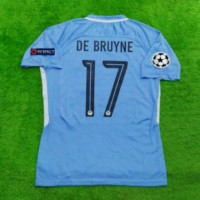 Jersey Manchester City Home FULL PATCH + NAMESET UCL 2017/2018