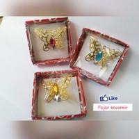 Jual Souvenir Pernikahan Cantik Bross Kupu-Kupu Gold Diamond Elegant Mewah Murah
