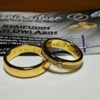 cincin kawin nikah tunangan untuk cewek single perak lapis emas