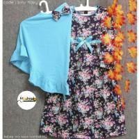 gamis anak katun jepang / dress motif bunga / baju muslim anak