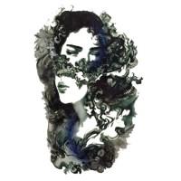 lc540 21x15cm tatto temporary wajah wanita
