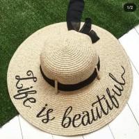 Jual topi pantai bisa di bordir nama Murah
