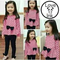 BT7970 Pink Polka Gisel Ribbon Set 2in1 - Baju anak