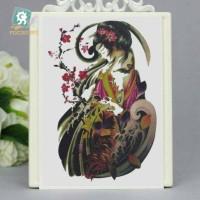lc539 21x15cm tatto temporary wanita dan bunga sakura merah