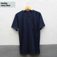 Jual Kaos Baju Polos Combed Henley Navy Blue Series Pria Wanita Cewek Cowok Murah