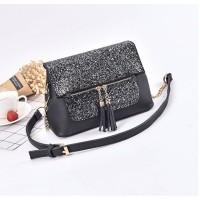 Tas Wanita Import J19925 Black Sling Bag Clutch Fringe Blink Bead Zara