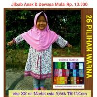 Jual jilbab instan serut anak sekolah Size XS bahan kaos PE Dusty Pink Murah