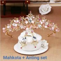 Mahkota rambut set anting tiara wedding hiasan pesta pengantin CC21 thumbnail