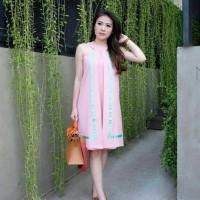 Jual Dress Halter Wanita Anggun Feminim Pink Scuba WN Shandy Murah
