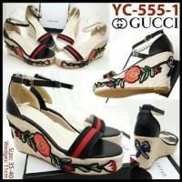 Sepatu Wanita GUCCI FLOWER Wedge 11cm