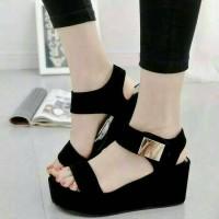 Harga murahhh sepatu sandal wanita wedges hitam kerja pesta kantor | Hargalu.com