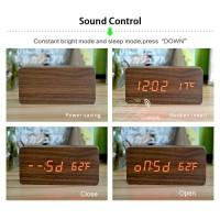 Jual Jam Alarm LED kayu Murah