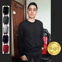 Jual Sweater Polos - Pria dan Wanita - Basic Colour - BLACK / HITAM Murah