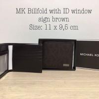 Michael Kors Men Wallet Bifold with ID Window sign brown