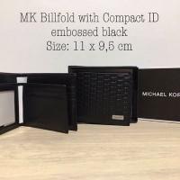 Michael Kors Men Wallet Biffold with compact ID embossed black