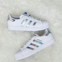 Sepatu Adidas Superstar J Original Hologram White /GoldMetallic