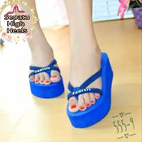 Jual Sandal Wedges Jepit Unik Karet Biru Cantik Fashion Wanita Dewasa Gaul Murah