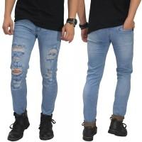 Jual Jeans Ripped Mega Destroyed Soft Blue/ celana jeans robek biru muda Murah