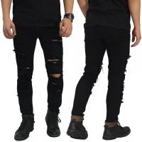 Jual Jeans Ripped Extra Damage Black/ celana jeans robek sobek hitam keren Murah