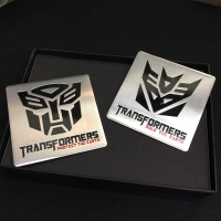 Tempelan Stiker Emblem Mobil Plat Aluminium Transformers Tranformers
