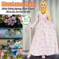 Long Dress Katun Jepang Motif Bunga MONTANA MAXI .