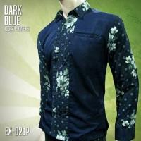 BATIK PRIA Lengan Panjang   SERAGAM BATIK   Biru Donker   EX-021P