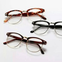 Kacamata Kutu Buku Bingkai Setengah Metal Lensa Bening