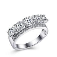 Cincin Lapis Emas Putih Berlian Imitasi 5 Batu Bulat Silver - BR161
