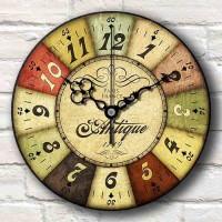 Jam Dinding Motif Vintage Number Paris - Handicraft Wall Clock Klasik