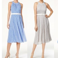 Jual chiffon polkadot  vintage retro / mini dress tanpa lengan ivd Murah