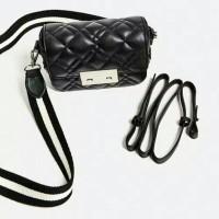 Tas Selempang Zara Quilted Double Look Mini Crossbody Bag Import Murah