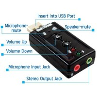 Sound Card Adapter USB 7.1Channel External 7.1 Channel Soundcard Audio