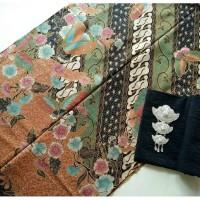 Jual kain batik solo hokokai hijau tanpa embos dan bros Murah