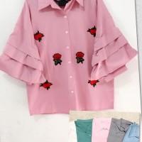 Jual Murah   RUFLE NITA BLOUSE/atasan import/baju import/blouse import/real Murah