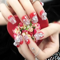 Na010 - Kuku Palsu 3d/ Nail Art / Red Fake Nails Wedding For Bride