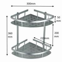 Rak Sudut Aluminium Kamar Mandi 2 Susun - Tempat Sabun dan Shampo