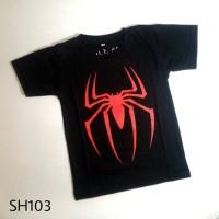Jual Kaos Anak Pria Cowok Super Hero SPIDERMAN Hitam - SH103 Murah